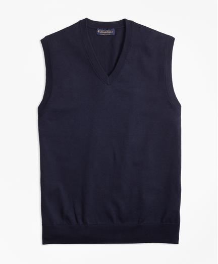 Chaleco-Cuello-en-V-de-Algodon-Supima®-Azul-Obscuro