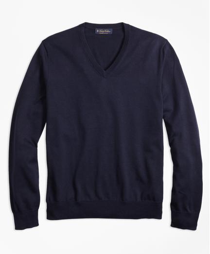 Sueter-Cuello-en-V-de-Algodon-Supima®-Azul-Obscuro