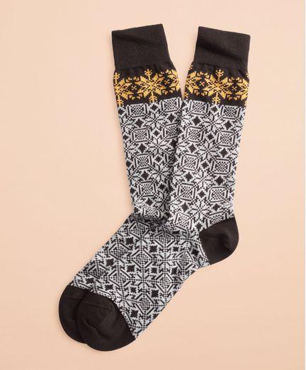 Calcetines-Elasticos-de-Algodon-con-Copos-de-Nieve-Brooks-Brothers