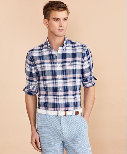 Camisa-de-Popelina-de-Algodon-y-Lino-Tartan-Brooks-Brothers
